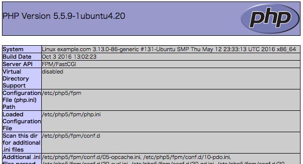 phpinfo()でPHPの設定確認